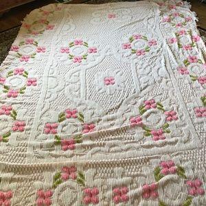 Vintage  Chenille bedspread white& pink